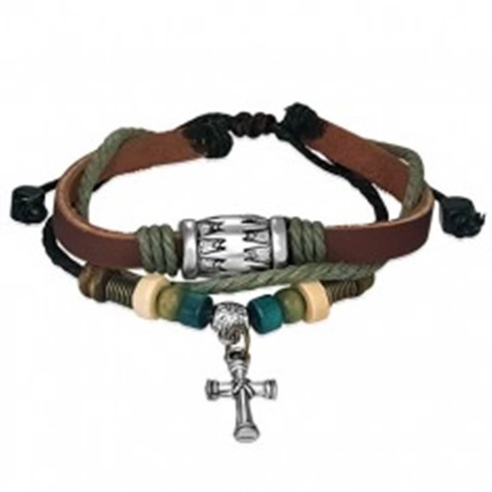 Šperky eshop Multi náramok z kože - šnúrky, pruh, krížik, valček