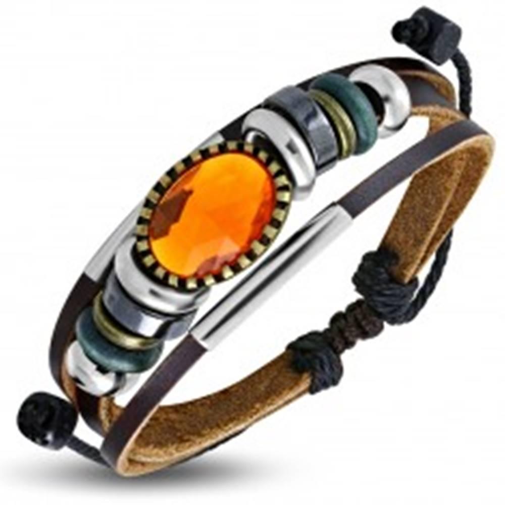 Šperky eshop Multináramok - hnedé pásy kože, rôznofarebné korálky, oranžová ozdoba