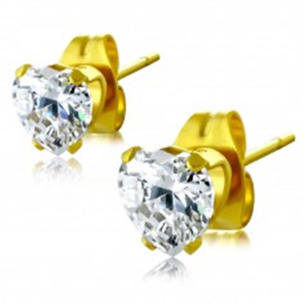 Šperky eshop Oceľové náušnice zlatej farby - číre vybrúsené zirkónové srdce