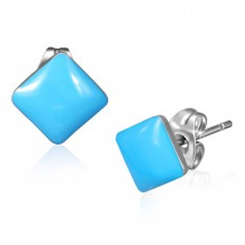 Šperky eshop Puzetové náušnice z ocele - pastelovo modré štvorce