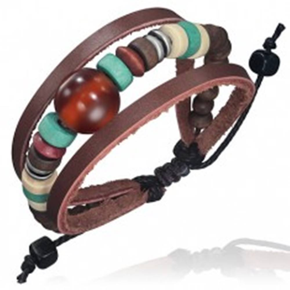 Šperky eshop Trojitý kožený náramok - kožené pásy, šnúrka, guľka