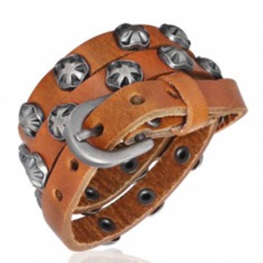 Šperky eshop Úzky kožený náramok - Maltézsky symbol, karamelový