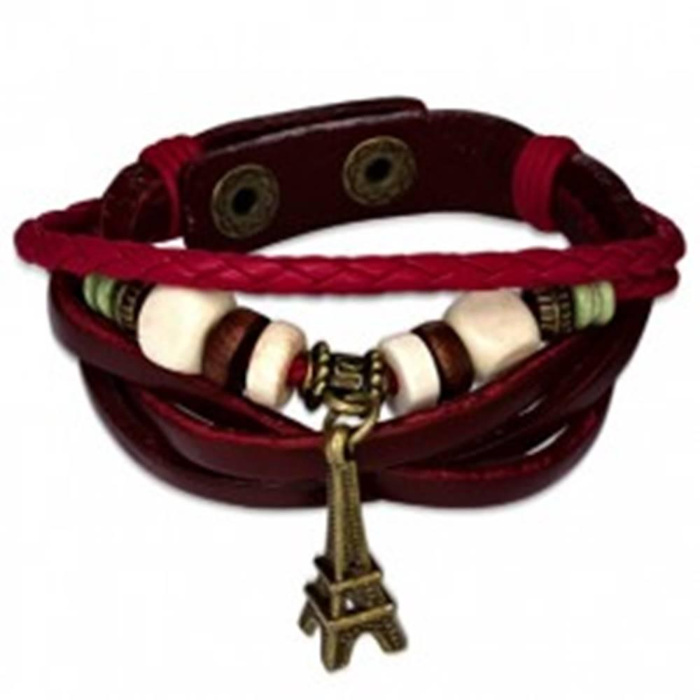 Šperky eshop Zapletaný hnedý kožený náramok, červené pletence, Eiffelova veža