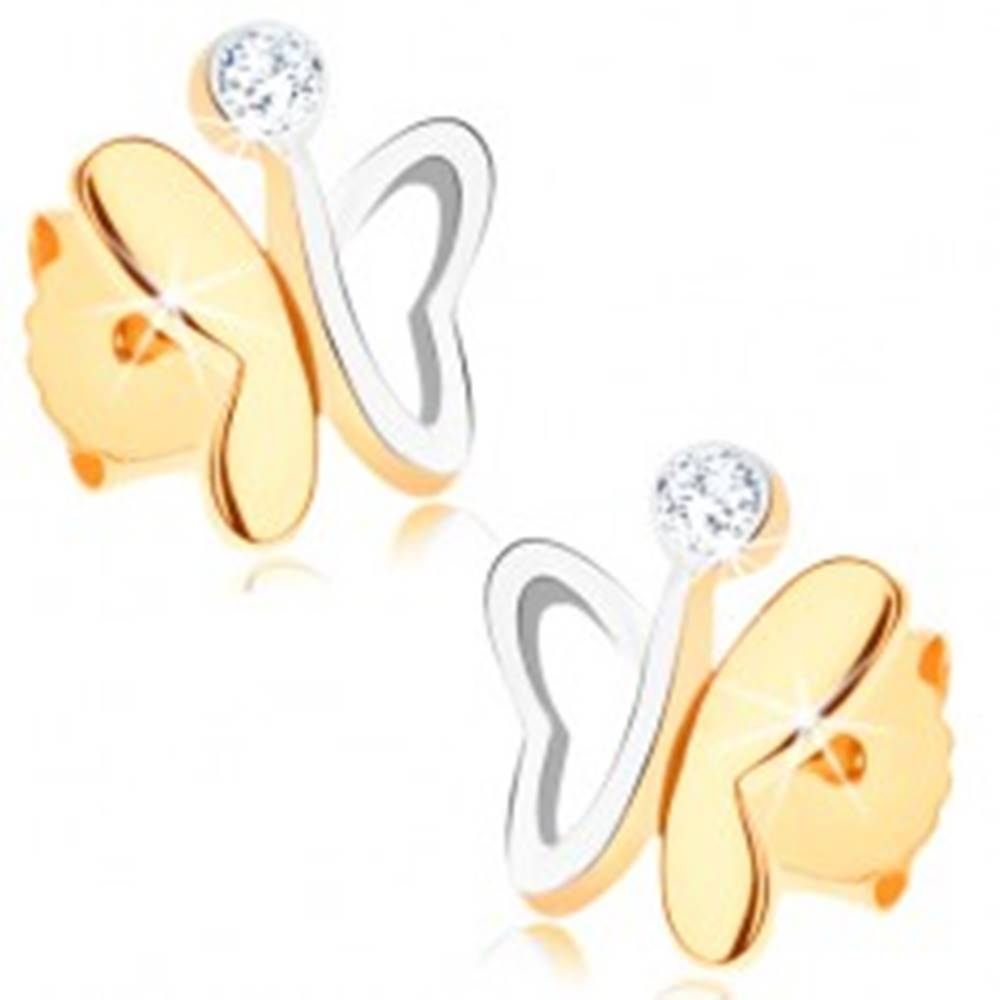 Šperky eshop Zlaté náušnice 375 - dvojfarebný motýlik s nesúmernými krídlami a zirkónom