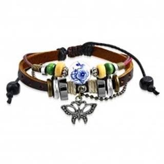 Nastaviteľný multinarámok - kožený pás, prívesok v tvare motýľa, šnúrky, korálky