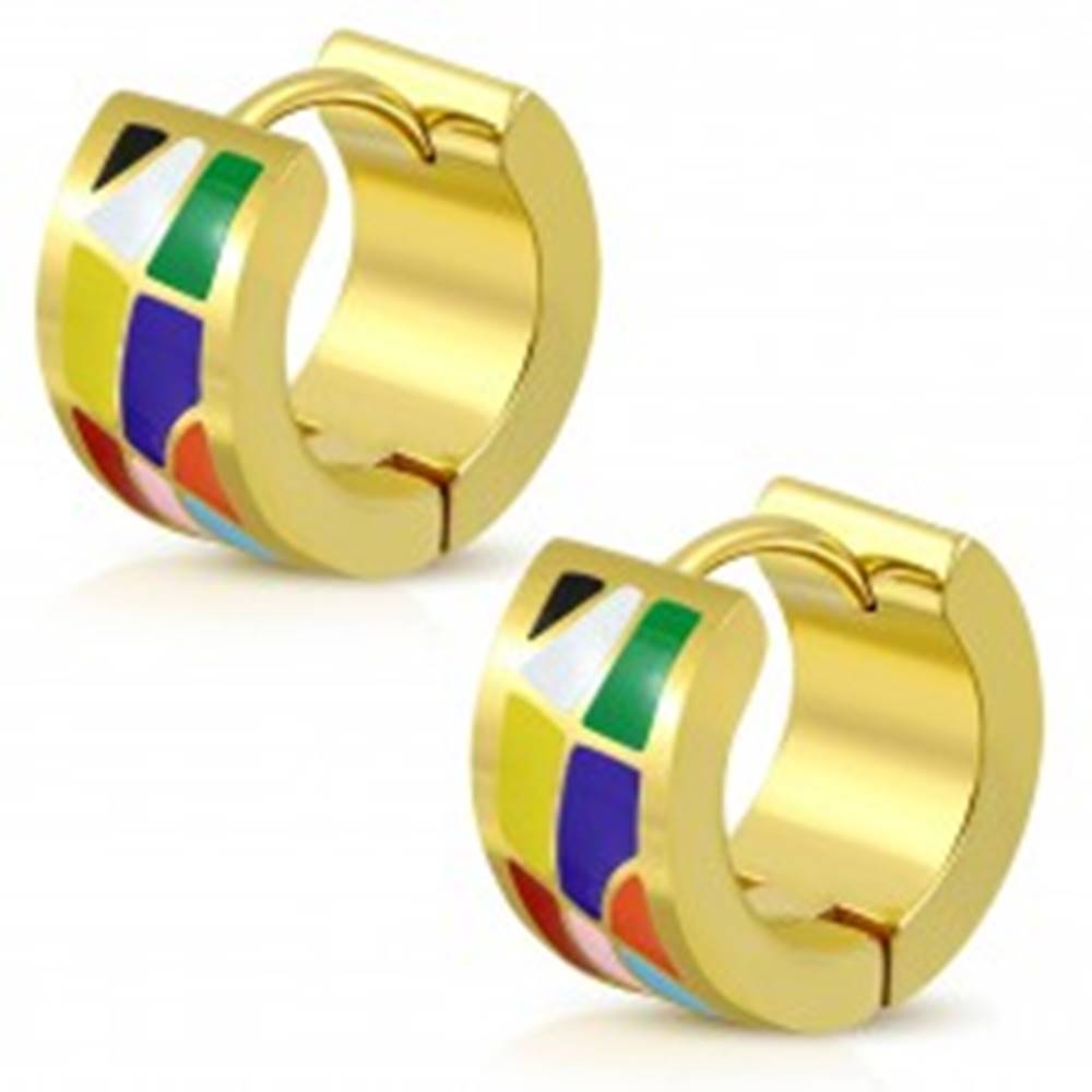 Šperky eshop Kĺbové náušnice z ocele 316L zlatej farby, farebné glazúrované útvary