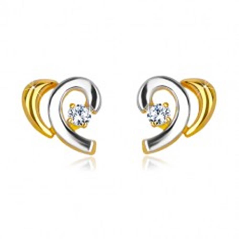 Šperky eshop Náušnice v kombinovanom 14K zlate - rozpolené srdiečko s briliantom