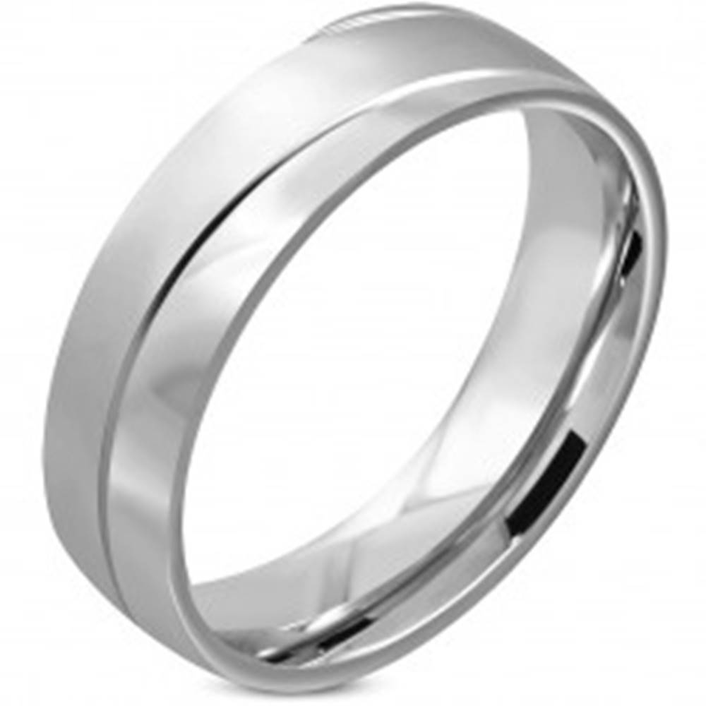 Šperky eshop Obrúčka z chirurgickej ocele - matný vlnitý pás, zrkadlovolesklé oblúky, 6 mm - Veľkosť: 49 mm