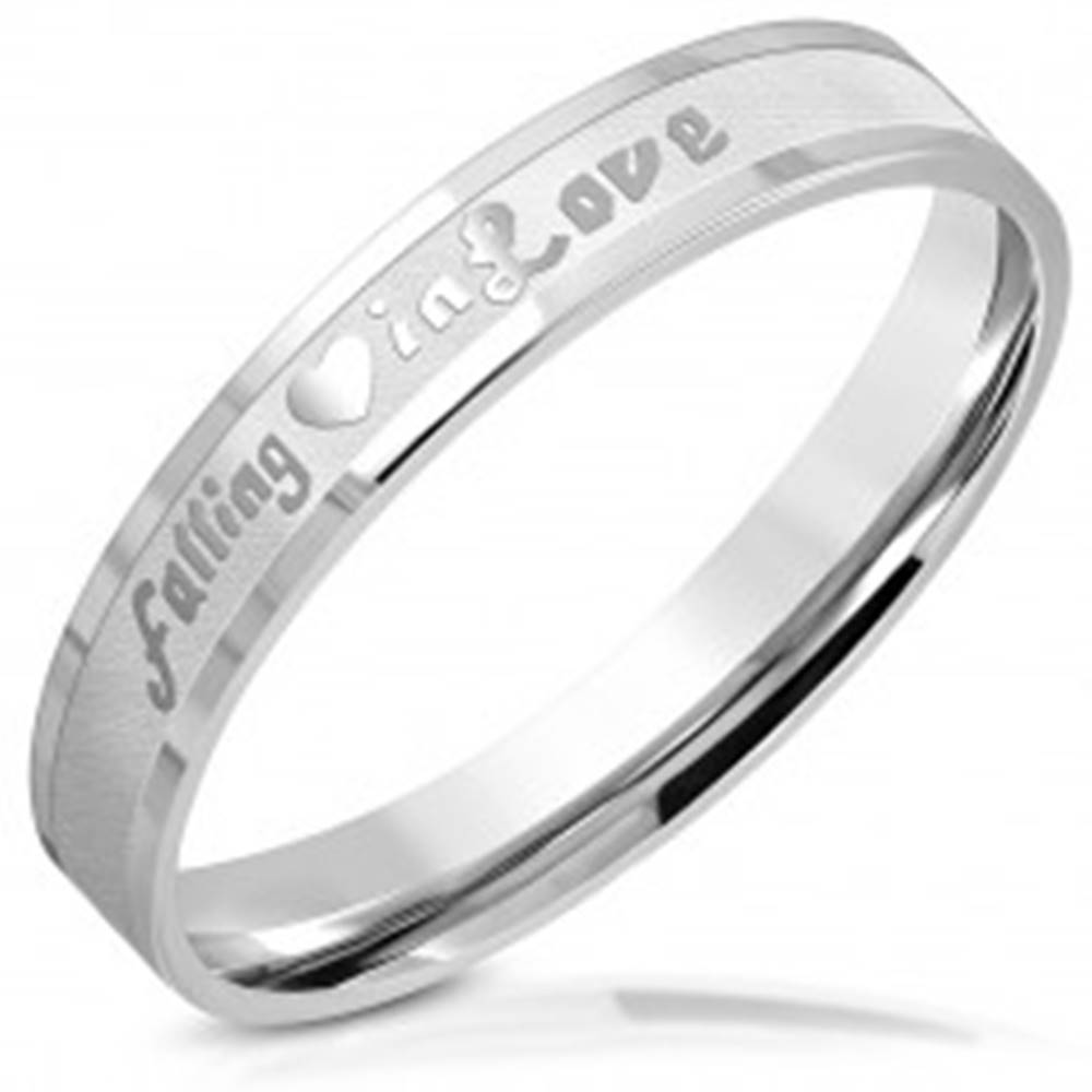 """Šperky eshop Obrúčka z chirurgickej ocele - nápis """"falling in Love"""", lesklé línie, matný pás, 3,5 mm - Veľkosť: 46 mm"""