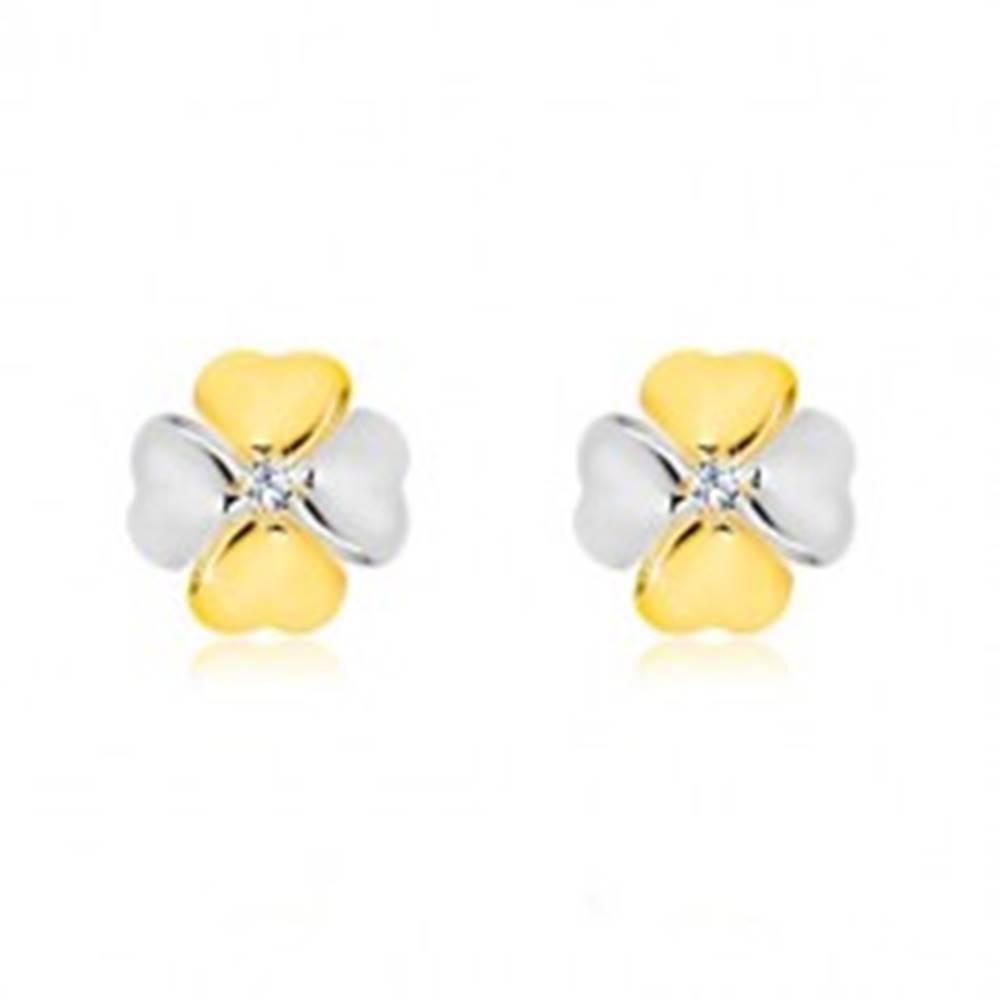 Šperky eshop Briliantové náušnice v kombinovanom zlate 585 - symbol šťastia s diamantom