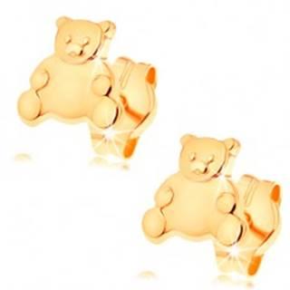 Zlaté náušnice 585 - roztomilý medvedík s lesklým hladkým bruškom