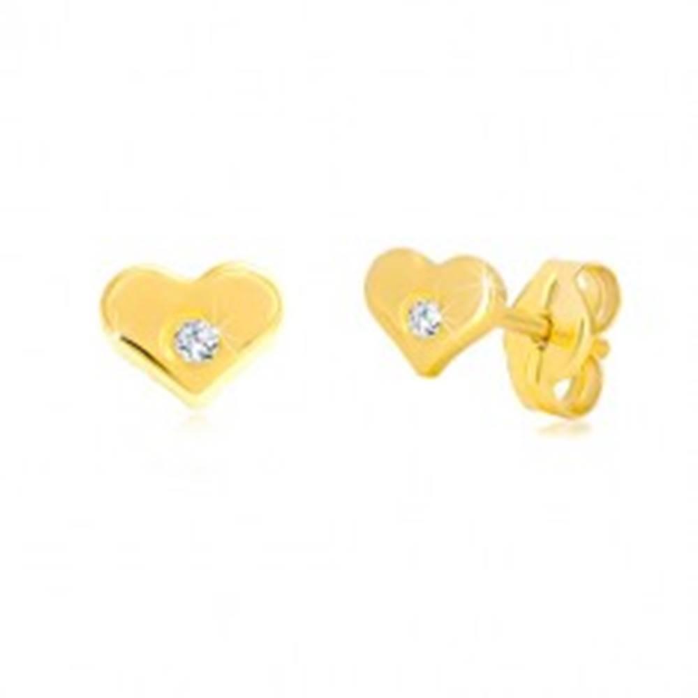 Šperky eshop Diamantové náušnice zo žltého 14K zlata - lesklé srdiečko s briliantom