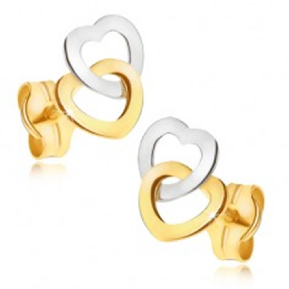 Šperky eshop Zlaté náušnice 585 - dvojfarebné ligotavé kontúry súmerných sŕdc