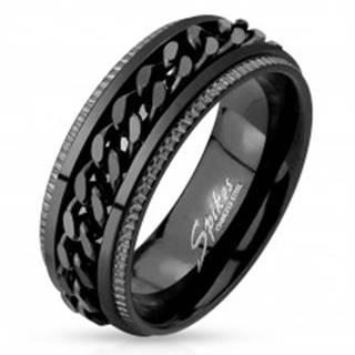 Oceľový prsteň, čierna farba, vrúbkované okraje, retiazka v strede - Veľkosť: 59 mm