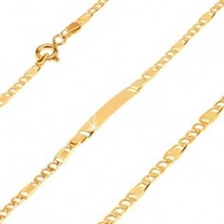 Zlatý náramok s platničkou 585 - tri širšie očká a článok s mriežkou
