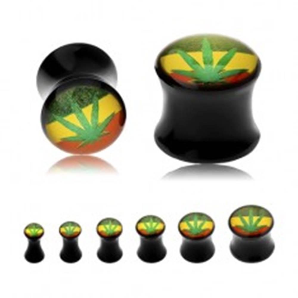 Šperky eshop Čierny sedlový plug do ucha, zelená marihuana na pozadí s rasta farbami - Hrúbka: 10 mm