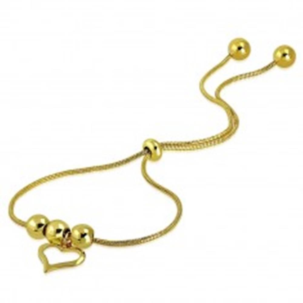 Šperky eshop Náramok z ocele v zlatom odtieni - kontúra nepravidelného srdca, guličky