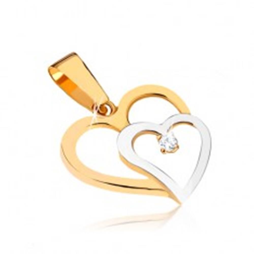 Šperky eshop Zlatý dvojfarebný prívesok 375 - dve obrysy srdiečok, okrúhly číry kamienok