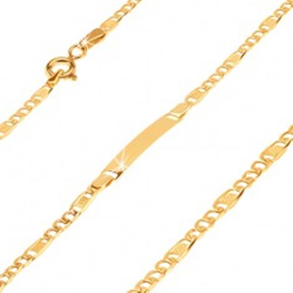 Šperky eshop Zlatý náramok s platničkou 585 - tri širšie očká a článok s mriežkou