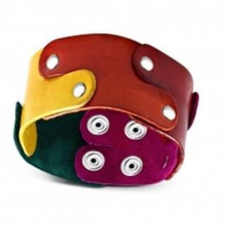 Kožený náramok - puzzle dieliky vo farbách dúhy spájané nitmi, PRIDE