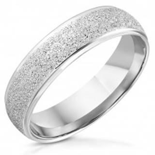Prsteň z nehrdzavejúcej ocele - lesklé hrany, trblietavý pieskovaný pás - Veľkosť: 54 mm
