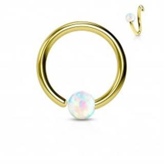 Piercing z chirurgickej ocele, lesklý krúžok zlatej farby s opálovou guličkou - Hrúbka x priemer x veľkosť guličky: 0,8 x 10 x 2 mm