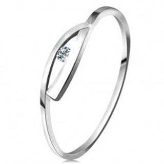 Prsteň v bielom zlate 585 s trblietavým diamantom, lesklé zvlnené ramená - Veľkosť: 49 mm
