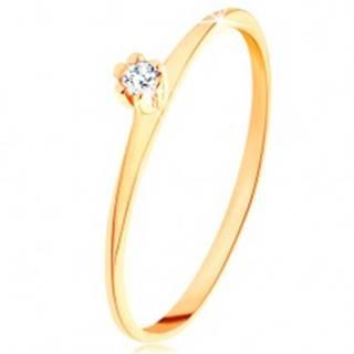 Prsteň v žltom 14K zlate - okrúhly číry diamant, tenké skosené ramená - Veľkosť: 49 mm