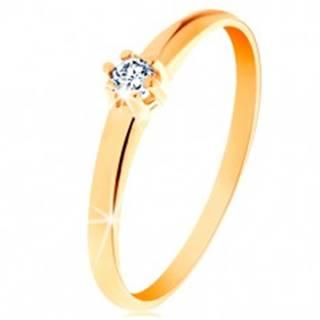 Zlatý prsteň 585 - okrúhly diamant čírej farby v šesťcípom kotlíku - Veľkosť: 48 mm