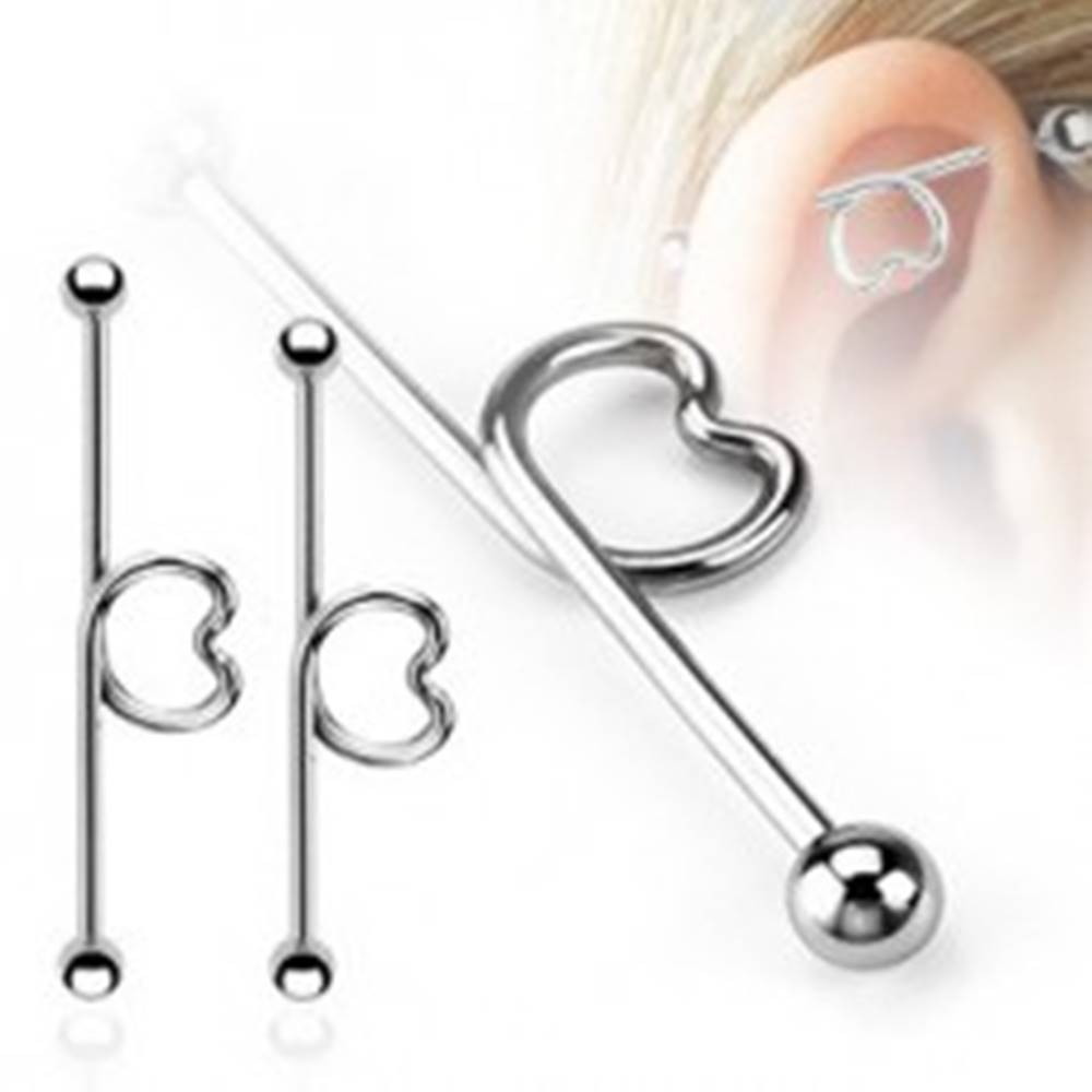 Šperky eshop Oceľový piercing do ucha - činka so srdcom a guličkami - Dĺžka piercingu: 32 mm