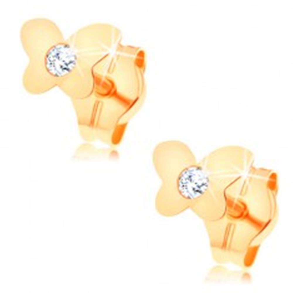 Šperky eshop Puzetové náušnice zo žltého 14K zlata - lesklý plochý motýlik, číry zirkón