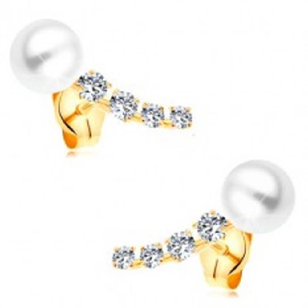 Šperky eshop Zlaté 14K náušnice, žiarivý zirkónový oblúk a biela guľatá perla bielej farby