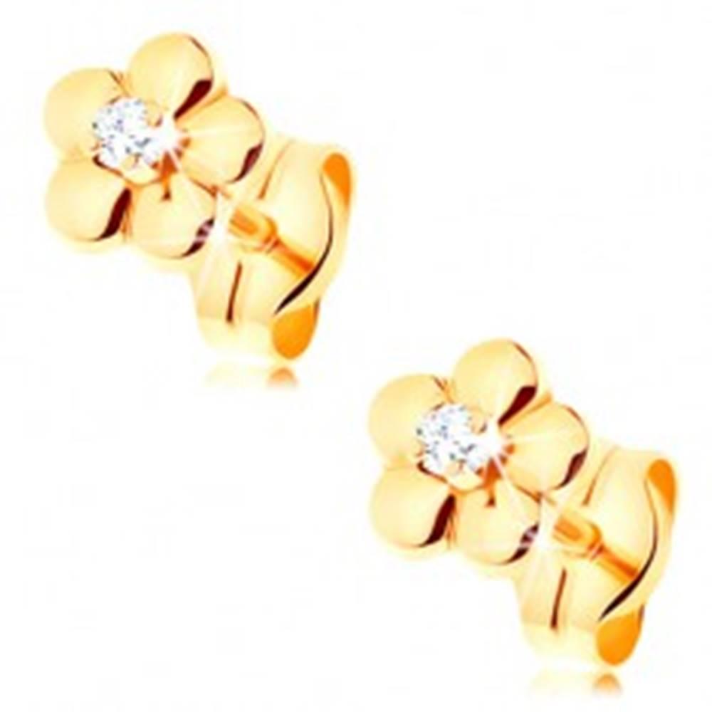 Šperky eshop Zlaté náušnice 585 - malý lesklý kvietok, vyvýšený číry zirkónik v strede