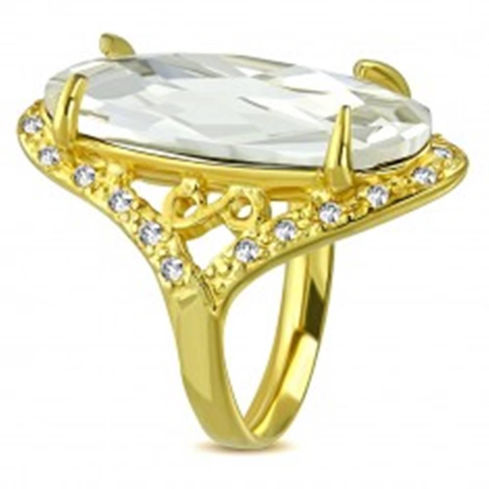 Šperky eshop Mohutnejší prsteň zlatej farby z ocele - číry brúsený zirkón, symbol nekonečna - Veľkosť: 52 mm