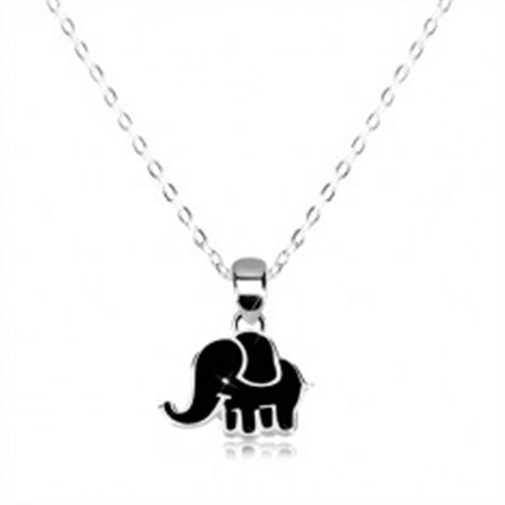 Šperky eshop Náhrdelník zo striebra 925 - lesklá retiazka, sloník zdobený čiernou glazúrou
