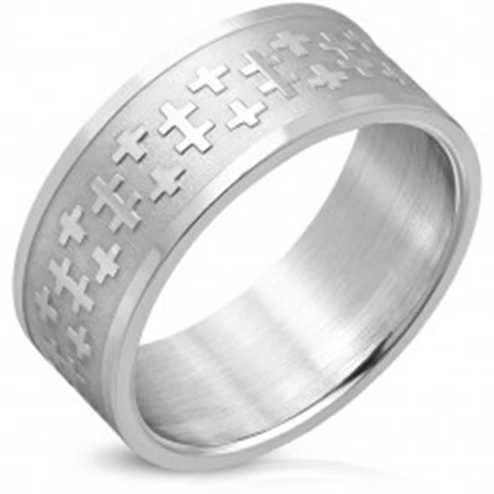 Šperky eshop Široká obrúčka z chirurgickej ocele - latinské a dvojité kríže, matný pás, 10 mm - Veľkosť: 63 mm