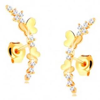 Náušnice zo žltého 14K zlata - číra zirkónová vetvička, lesklé motýle