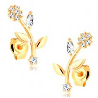 Náušnice zo žltého 14K zlata - kvet so zahnutou stonkou, číre zirkóny