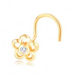 Piercing zo žltého 14K zlata - kontúra kvetu s čírym zirkónikom v strede