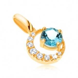 Prívesok v žltom 14K zlate, zirkónový kosák mesiaca, okrúhly modrý topás