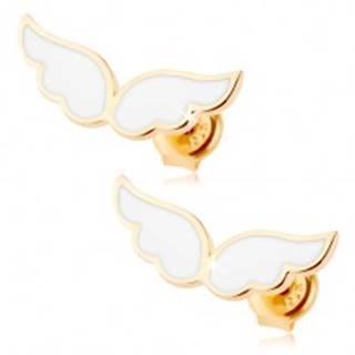 Zlaté náušnice 375 - anjelské krídla zdobené bielou glazúrou, puzetky