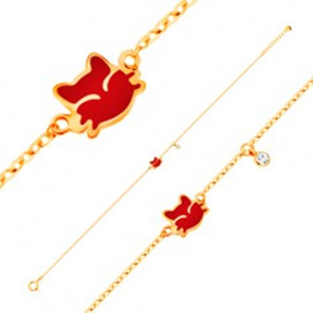 Šperky eshop Náramok zo žltého 14K zlata, prívesky - červená mačička, číry zirkón