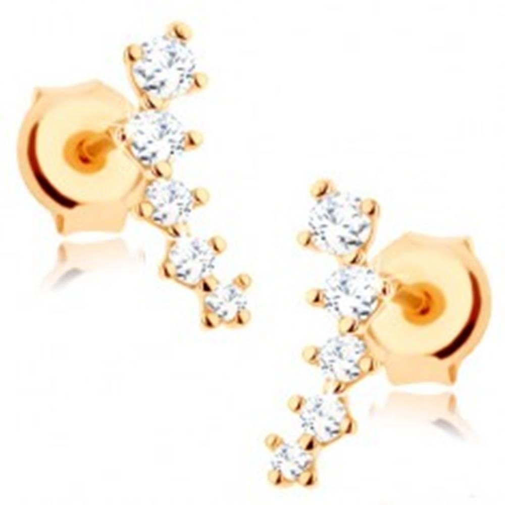 Šperky eshop Náušnice zo žltého 14K zlata - trblietavý oblúčik z čírych zirkónov, puzetky