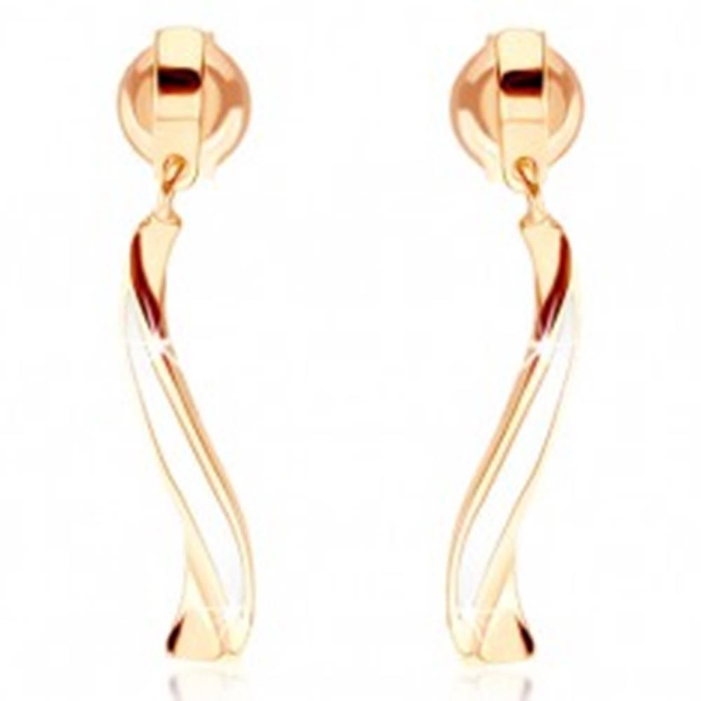 Šperky eshop Zlaté náušnice 375 - zvlnená línia zdobená bielou glazúrou, puzetky