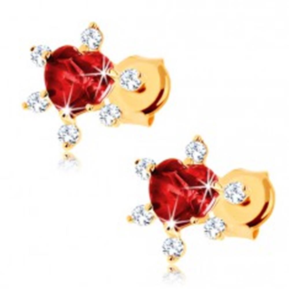 Šperky eshop Zlaté náušnice 585 - srdiečkový granát červenej farby, číre zirkóniky