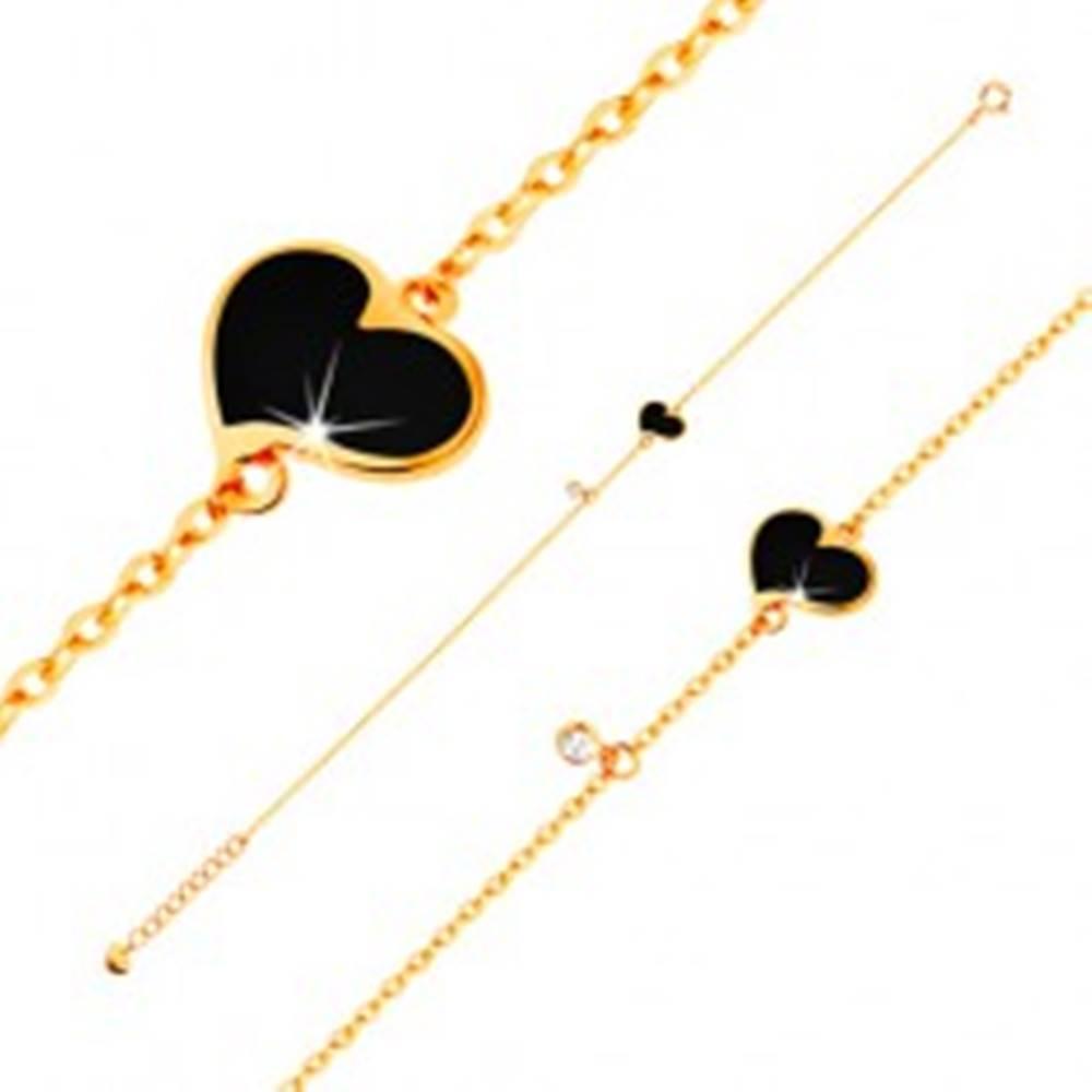 Šperky eshop Zlatý náramok 585 - čierne asymetrické srdce a číry zirkónik, tenká retiazka, 180 mm