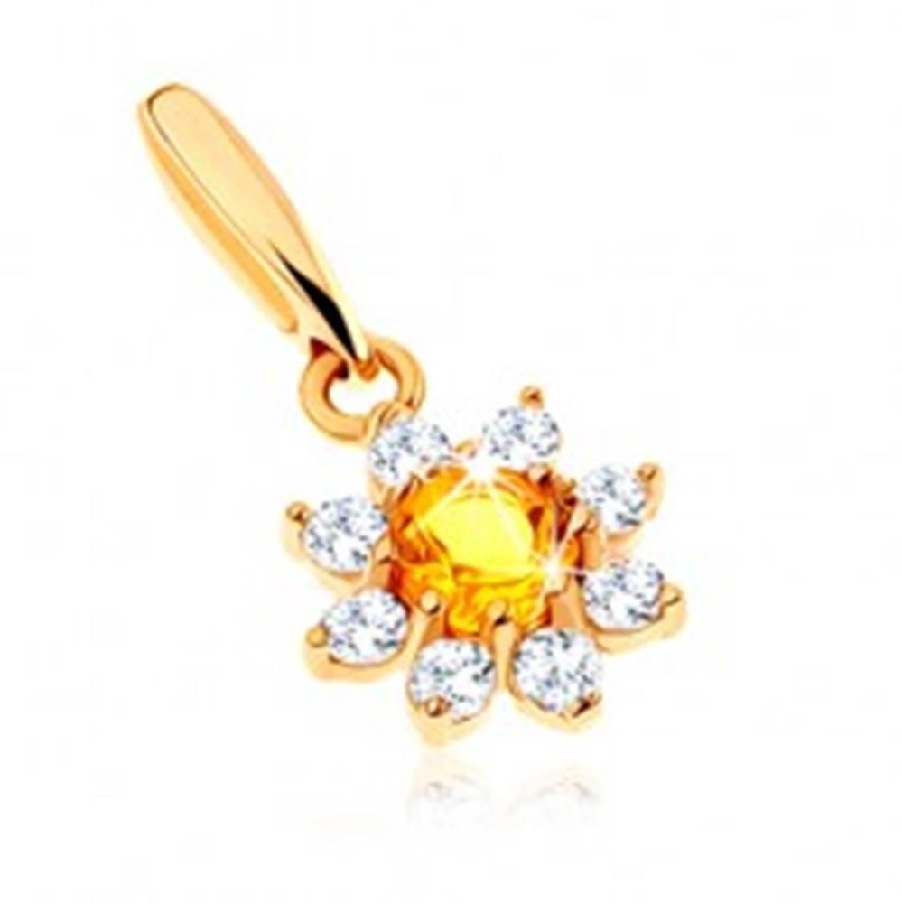 Šperky eshop Zlatý prívesok 375 - rozkvitnutý kvet so žltým citrínom, číre zirkónové lupene