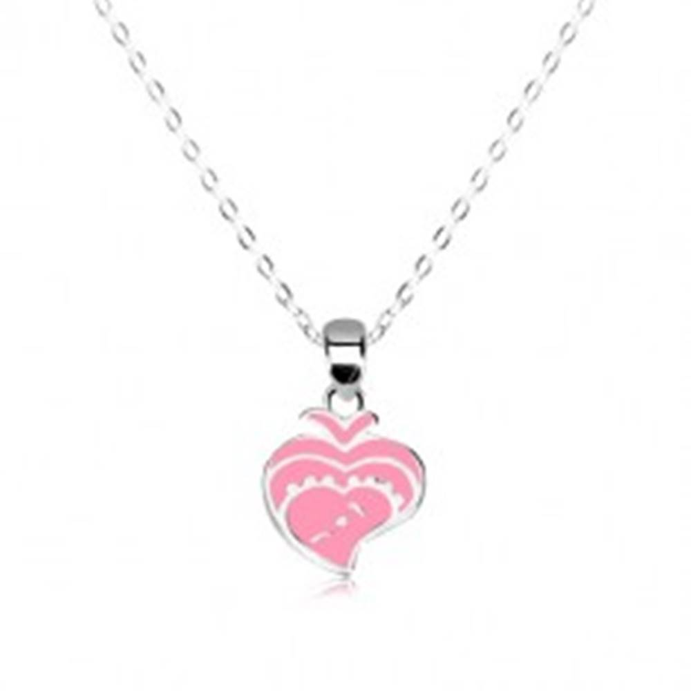 Šperky eshop Strieborný 925 náhrdelník - lesklá retiazka, rybička zdobená ružovou glazúrou