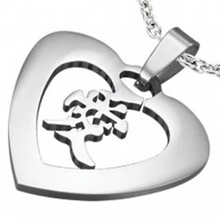 """Oceľový prívesok striebornej farby - srdce s čínskym znakom """"láska"""""""