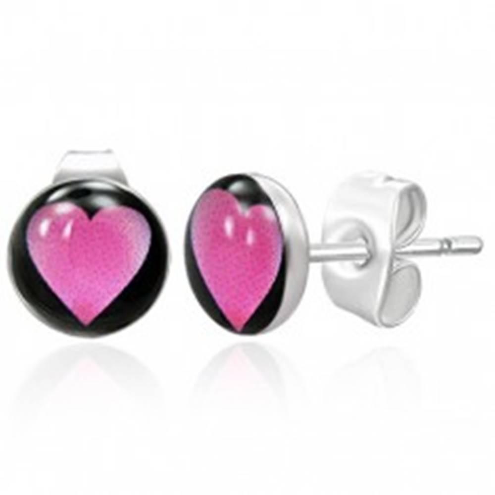 Šperky eshop Oceľové náušnice - ružové srdiečko
